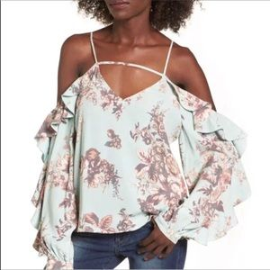 Leith Cold Shoulder Ruffled Floral Top